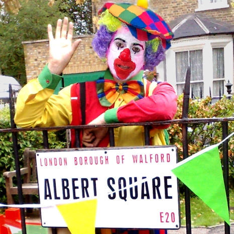 Allin Kempthorne as a clown in Eastenders